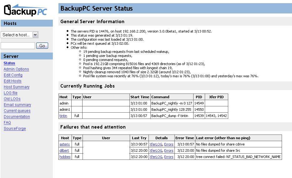 BackupPCServerStatus